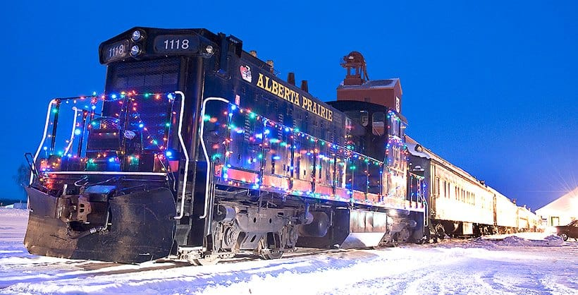 Locomotive No. 1118 all decked out with Christmas Lights