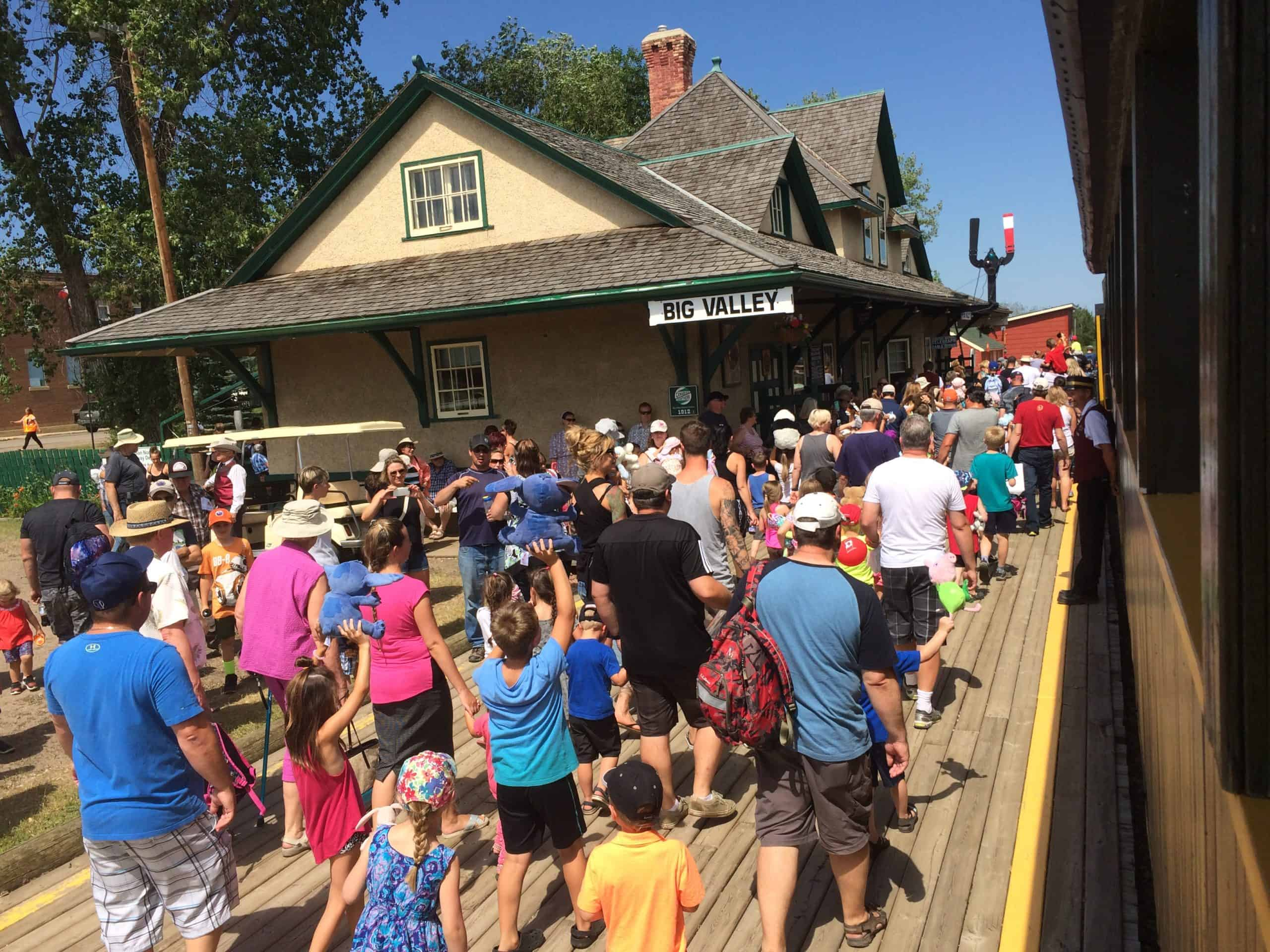 Students head out to visit station and locomotive.